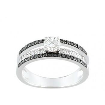 Bague en or blanc diamants blancs et noirs 2