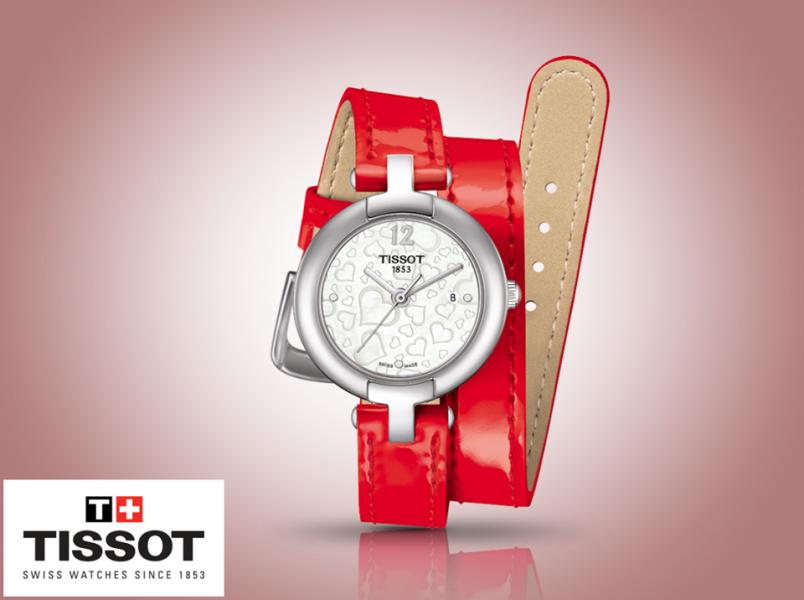 montre dame tissot pinky bracelet double cuir vernis rouge