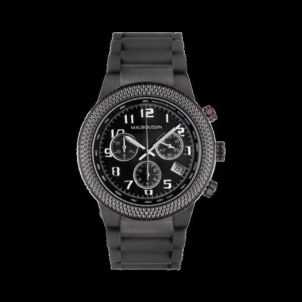 montre first day watch cadran noir chiffres blancs bracelet caoutchouc