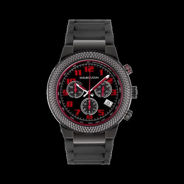 montre first day watch cadran noir chiffres rouge bracelet caoutchouc