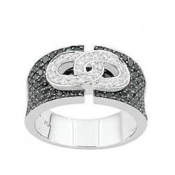 Bague en or blanc diamants blancs et noirs